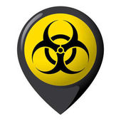 Icon representing location of biological risk product location and chemical biological and infectious debris Ideal for catalogs of institutional materials