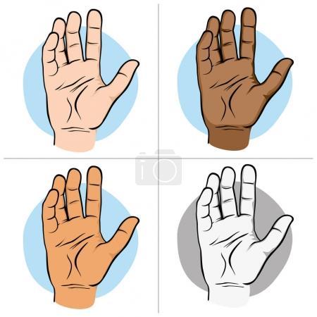 Illustration pour Illustration représente une main humaine ouverte avec la paume pour échantillon, ethnies. Idéal pour les catalogues de matériel institutionnel - image libre de droit