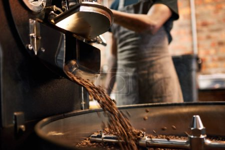 coffee beans being poured out of a coffee roasting machine