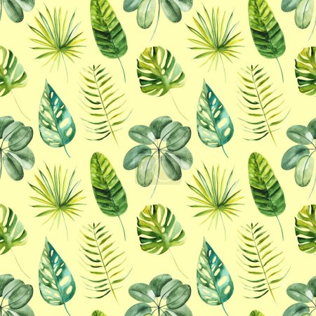 Photo for Illustration seamless pattern drawn by watercolor exotic tropical green leaves on background. - Royalty Free Image