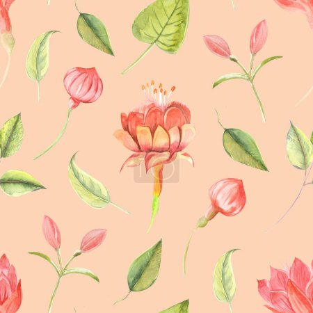 Photo for Seamless raster watercolor pattern with flowers fuchsia and leaves close up on a colored background. - Royalty Free Image