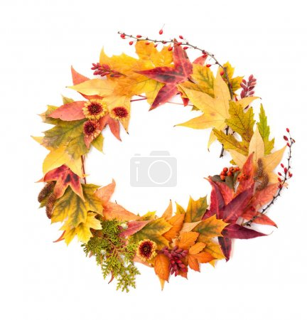 Autumn Concept: Wreath of Maple and Oak Leaves, Re...