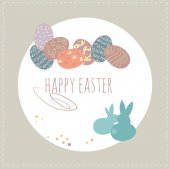 ute bunny and easter eggs Happy easter concept Colorful design Vector illustration