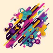 Original beautiful combination of modern style abstraction with a composition of various round figures and spinners in a real color palette Vector illustration of a fashionable drawing of ovals and lines and a spinner