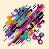 Abstraction spinner Original beautiful combination of abstraction of modern style with a composition of various rounded figures and spinners in a real color palette Vector illustration