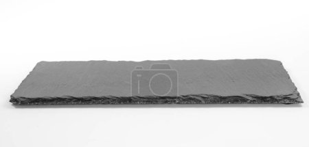 Empty dark grey rectangular shale plate