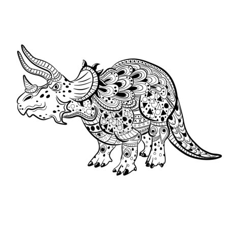 Triceratops - prehistoric reptile. Antistress Coloring Book for