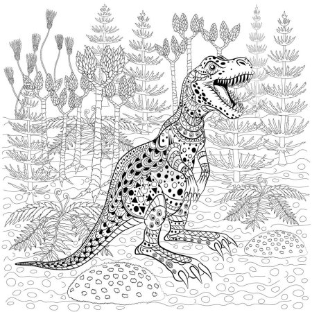 Tyrannosaur  in nature. Antistress Coloring Book for adults