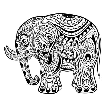 Hand drawn ink zentangle elephant for relax and meditation