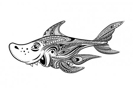 Coloring book for adult. Fanny cartoon shark