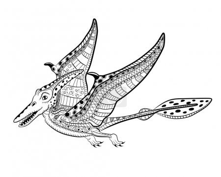 Pterodactyl - prehistoric monster. Antistress Coloring Book for