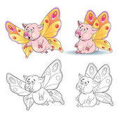 Funny cartoon piggy image of a butterfly Coloring book