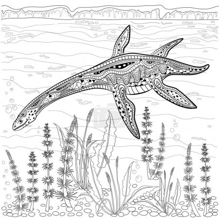 Plesiosaur - prehistoric reptile  in nature. Antistress Coloring