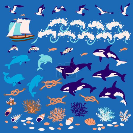 Illustration for Nautical cartoon set: Dolphins, whales-killers, fish, seagull, coral, shell, knots - Royalty Free Image