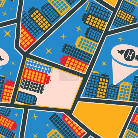 Seamless pattern with cartoon  high-rise houses and superhero el