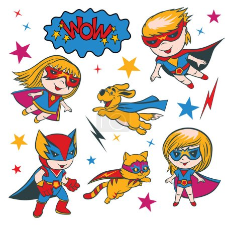 Set of funny cartoon superhero character