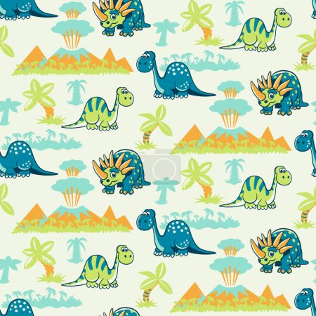 Seamless pattern with dinosaurs, palms and volcanoes