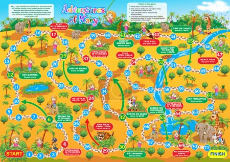 Vector illustration of board game for children. Adventures of Ma