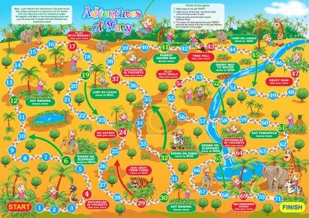 Illustration pour Illustration vectorielle du jeu de société pour enfants. Aventures de Marie. Voyage dans la jungle avec Marie et se faire de nouveaux amis . - image libre de droit