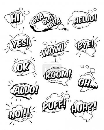 Illustration for Set of funny exclamations: huh, hi, hello, wow, yes, bye, koom, ok, oh, puff, allo, bla, no - Royalty Free Image