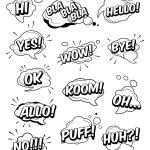 Set of funny exclamations: huh, hi, hello, wow, ye...