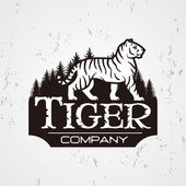 Bengal Tiger in forest vector Mascot shirt design template Shop or product illustration Expedition insignia Sport team logotype on light background