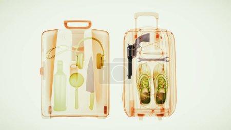 Baggage through the Xray machine to ensure safety. 3d illustrati