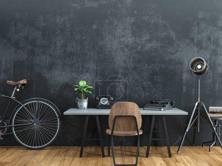 Foto de Habitación negra decorada en estilo vintage. Render 3D. - Imagen libre de derechos