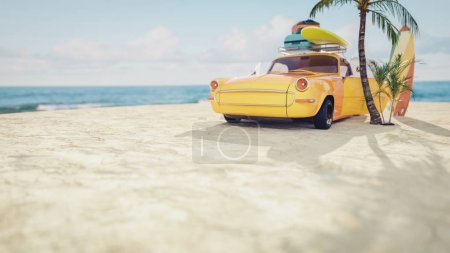 Classic yellow car parked by the sea.
