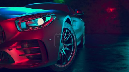 Photo for Modern cars are in the studio room. 3d illustration and 3d render. - Royalty Free Image