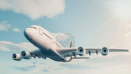 The plane fly in the sky. 3d rendering and illustration.The plan
