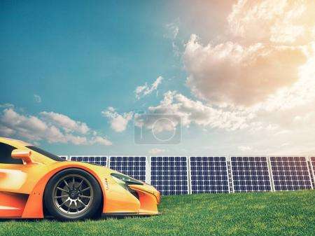 Natural energy cars and solar panels.