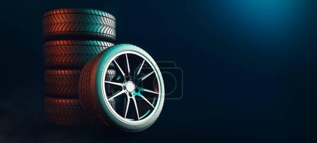 Photo for Tires 5 lines on a black background. 3d render and illustration. - Royalty Free Image