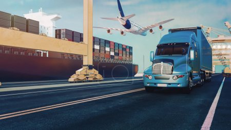 Photo for Plane trucks are flying towards the destination with the brightest. 3d rendering and illustration. - Royalty Free Image
