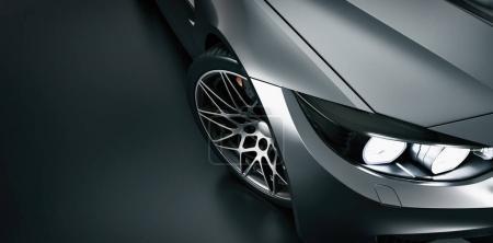 Black sports car. High angle black sports car.