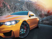 The front sports cars with mountain backdrop