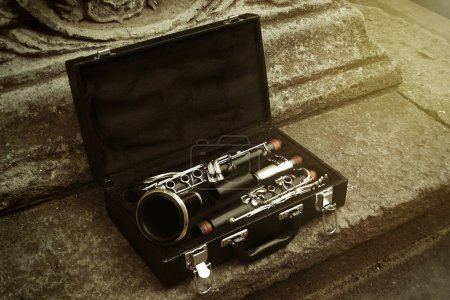 beautiful black and silver clarinet