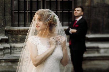 Elegant wedding couple posing