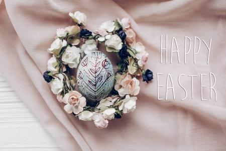 happy easter text  and easter egg