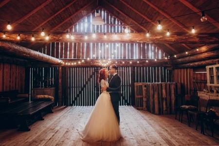 newlyweds dancing at wedding reception