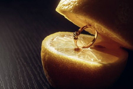 engagement ring in lemon slice