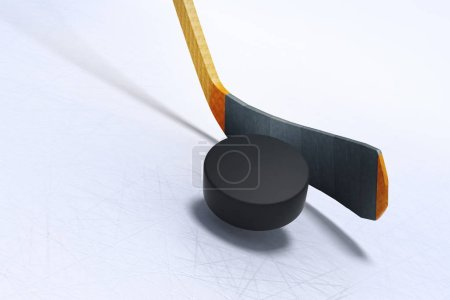 3d illustration of Hockey Stick and Floating Puck on the Ice