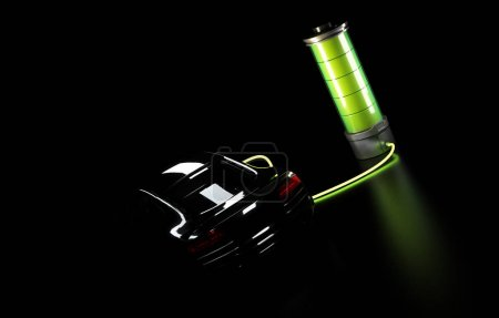 Photo for 3d illustration of electric car connected to big battery. Concept of charging electrical automobile. - Royalty Free Image