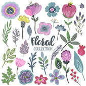 Vector graphic set with beautiful flowers leaves branches berries Colorful collection for greeting Save the Date cards wedding invitations patterns