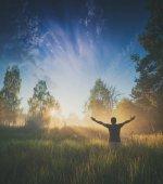 Enjoy majestic bright sunrise. Instagram stylization