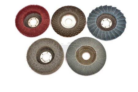 Abrasive wheels on a white background