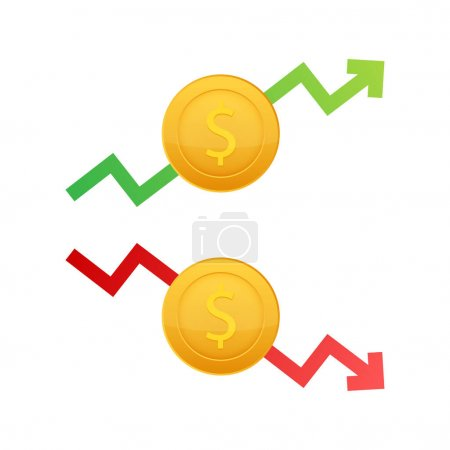 Illustration for Up and Down Dollar Sign on white background. Vector stock illustration - Royalty Free Image