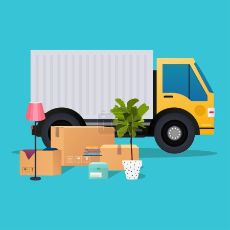 Moving truck and cardboard boxes. Moving House. Tr...