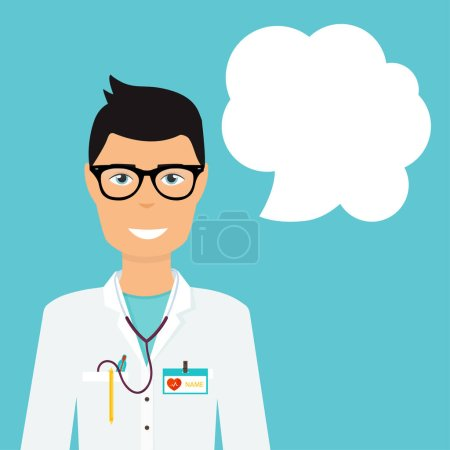 Illustration pour Médecin en uniforme médical et bulle vocale. Conception plate concept d'illustration vectorielle moderne . - image libre de droit