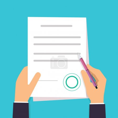 Illustration for Businessman is signing a contract. Vector agreement icon in flat style. - Royalty Free Image